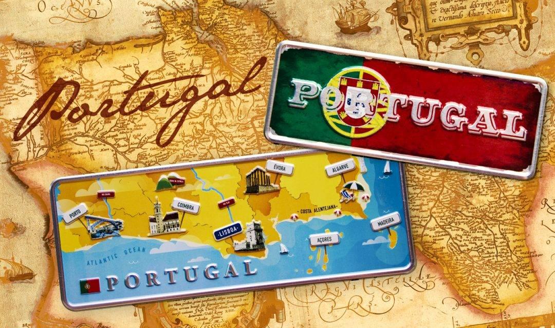 Placa Aluminio Portugal Premium Mapa do Portugal - Ocean Plates Placas em Aluminio