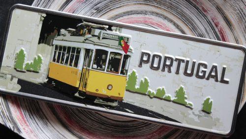 Placa Aluminio Portugal Premium Bonde Eléctrico Amarelo - Ocean Plates Placas em Aluminio