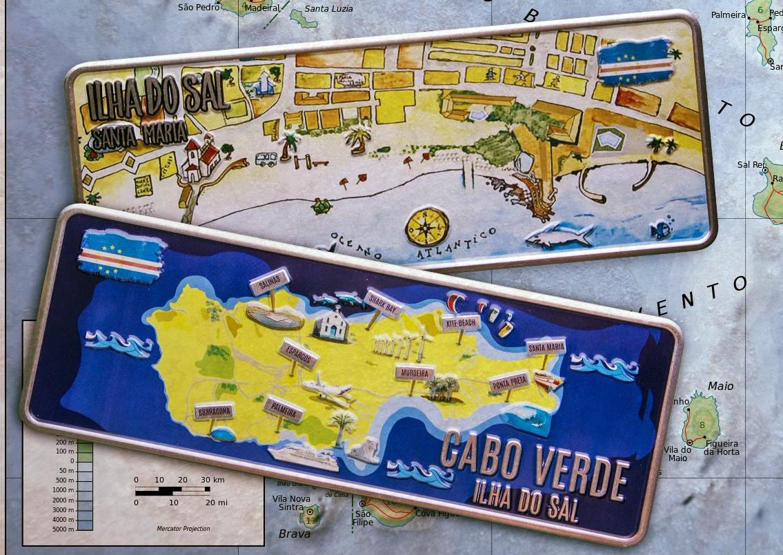 Placa Aluminio Cabo Verde Premium Vila Santa Maria - Ocean Plates Placas em Aluminio
