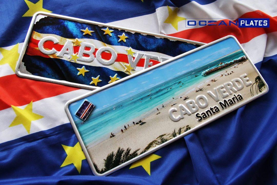 Placa Aluminio Cabo Verde Premium Bandeira Nacional de Cabo Verde - Ocean Plates Placas em Aluminio