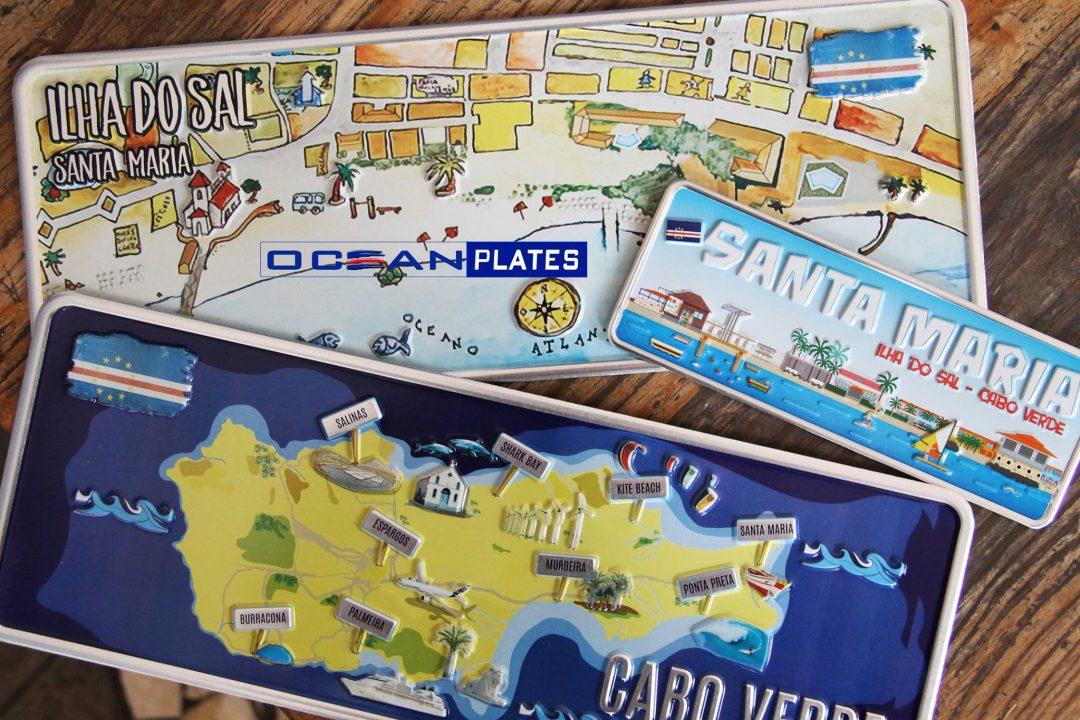 Placa Aluminio Cabo Verde Premium Mapa da Cidade de Santa Maria - Ocean Plates Placas em Aluminio