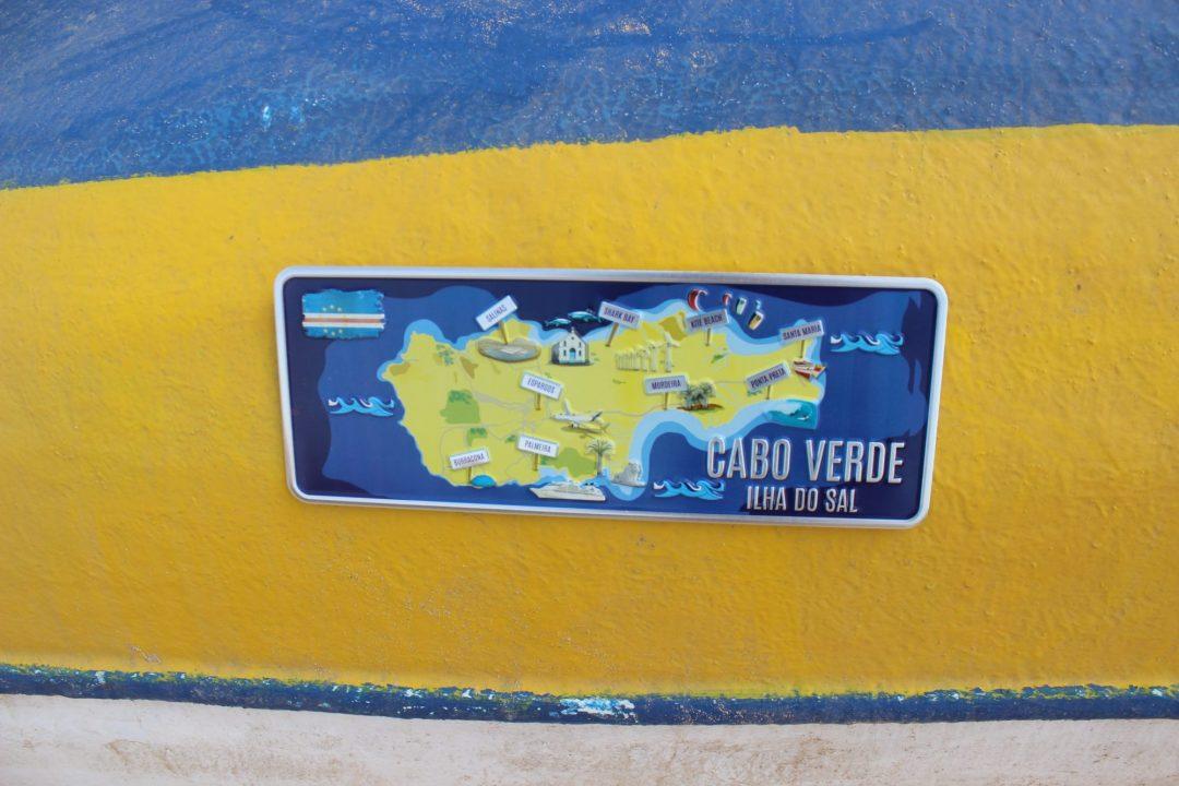 Placa Aluminio Cabo Verde Premium Ilha do Sal Mapa - Ocean Plates Placas em Aluminio