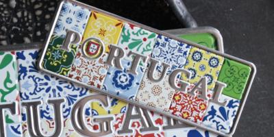 Placa Aluminio Portugal Mini Painel Azulejo Multicor Português - Ocean Plates Placas em Aluminio