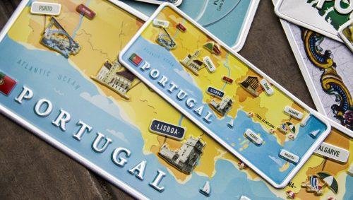 Placa Aluminio Portugal Mini Mapa de Portugal - Ocean Plates Placas em Aluminio