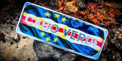 Placa Aluminio Cabo Verde Mini Bandeira Nacional de Cabo Verde - Ocean Plates Placas em Aluminio