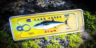 Placa Aluminio Cabo Verde Mini Atum no Fundo Amarelo - Ocean Plates-Placas em Aluminio