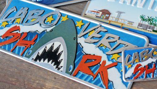 Placa Aluminio Cabo Verde Premium Tubarão de Cabo Verde - Ocean Plates Placas em Aluminio
